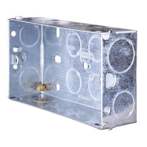 2 Gang 35Mm Flush Metal Box