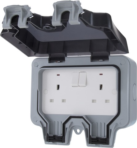 2 Gang Outdoor Switched Socket Ip65